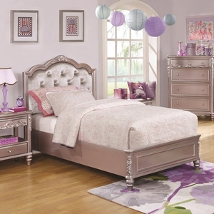 Item # 021FB Diamond Tufted Twin Bed - Finish: Metallic Lilac<br><br>Available White w/ Pink Leatherette<br><br>Optional Storage<br><br>Available in Full Size<br><br>Dimensions: 41.5W x 83.25D x 50H
