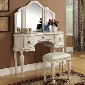 Item # 021M Vanity Mirror - Finish: White<br><br>Dimensions: 42