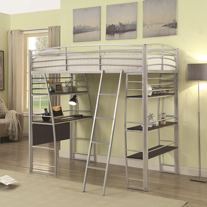 021MLB Twin Metal Loft Bed in Silver - Finish: Silver<br><br>Available in Black<br><br>Slat Kit Included<br><br>Dimensions: 75