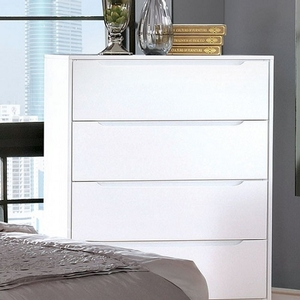 022CH Modern 4 Drawer Chest - Finish: White<br><br>Available in Black Finish<br><br>Dimensions: 34