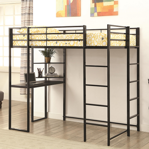 022MLB Twin Workstation Loft Bed - Finish: Black<br><br>Available in Silver<br><br>Slat Kit Included<br><br>Dimensions: 79.50
