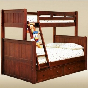 A0004TF Twin over Full Bunk Bed in Dark Pecan - *Underneath Storage Sold Separately*