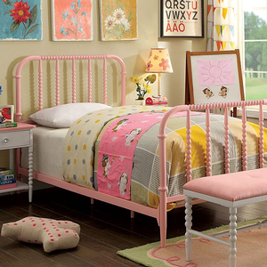 0239T Twin Spindle Bed in Pink - Finish: Pink<br><br>Foundation Required<br><br>Available in Full Size<br><br>Dimensions: 19 5/8