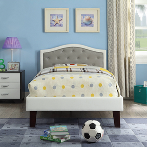 0242T White Twin Bed w/ Gray Upholstered Headboard  - Finish: White / Gray<br><br>Available in White / Pink Leatherette<br><br>Available in Full Size<br><br>No Box Spring Required<br><br>Dimensions: 79