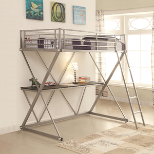 024MLB Twin Metal Loft Bed in Silver - Finish: Silver<br><br>Available in Full Size<br><br>Slat Kit Included<br><br>Dimensions: 77