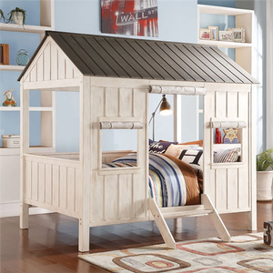 Item # 024TB Full Size Cottage Bed - Finish: Weathered White / Washed Gray<br><br>Bunkie Board Not Required<br><br>Slat Kit Included<br><br>Dimensions: 84