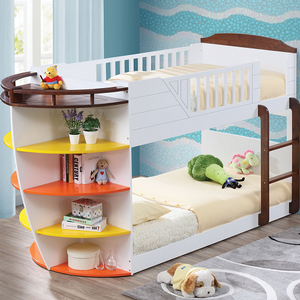 025TB Twin/Twin Boat Bunk Bed w/ Shelves - Finish: White / Chocolate Finish<br><br>Slat Kits Included<br><br>Dimensions: 100