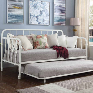 031MDB Twin Daybed w/ Trundle -  Finish: White<br><br>Available in Black<br><br>Slat Kit Included<br><br>Dimensions: 79.75