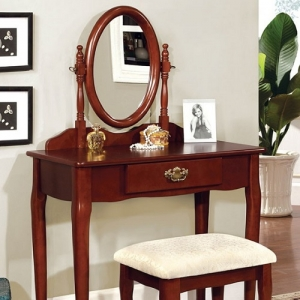 032V Vanity Set - Queen Anne Style Legs<br><Br>Padded Stool Included<br><Br>Oval Mirror & Drawer<br><br>