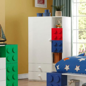 Item # 032AM Armoire - Finish: White & Multicolor Red/Blue<br><br>Dimensions: 36