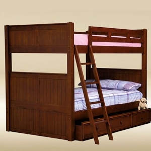Item # 0105 Full/Full Bunk Bed in Dark Pecan - *Underneath Storage Sold Separately*