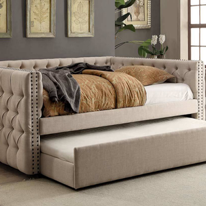 033DB Upholstered Full Daybed in Ivory - Finish: Ivory<br><br>Trundle Optional<br><br>Available in Twin Size Daybed or Queen Size Daybed<br><br>Dimensions: 88 1/4