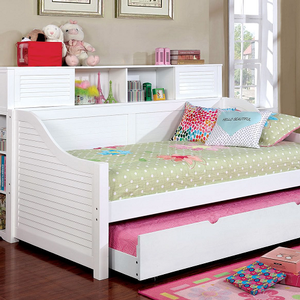 034DB White Bookcase Daybed - Finish: White<br><br>Available in Black<br><br>Trundle Optional<br><br>Foundation Required<br><br>Dimensions: 79 7/8