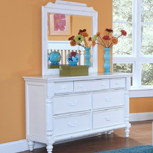034M Mirror - Finish: Rubbed White<br><br>*Dresser Sold Separately*<br><br>Dimensions: 34