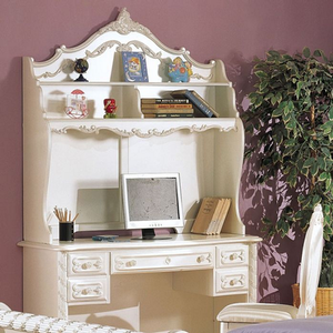 Item # 035HC Pearl White Hutch - Finish: Pearl White w/ Gold Brush Accent<br><br>Dresser Sold Separately<br><br>Dimensions: 47