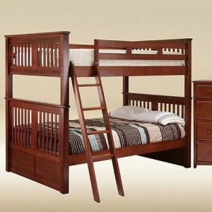Item # 0107 Boston Full over Full Bunk Bed in Dark Pecan - *Chest Sold Separately*
