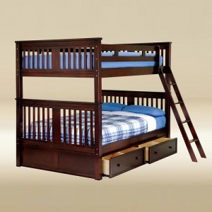 Item # A0007 Full/Full Boston Bunk Bed in Walnut - *Underneath Storage Sold Separately*