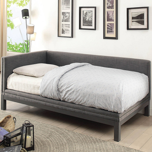 037DB Upholstered Daybed in Gray - Finish: Gray<br><br>Slat Kit Included<br><br>Dimensions: 93 1/2