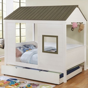 037FB Full House Bed - Color/Finish: Gray/White<br><br>Dimensions: 83 3/4
