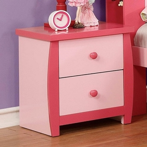 038NS Pink Two Drawer Nightstand - Color/Finish: Pink<br><br>Dimensions: 19