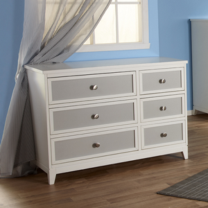 038DR Two Tone Double Dresser - Finish: White/Gray<br><br>Available in White Finish<br><br>Dimensions: 47W x 20D x 34.5H