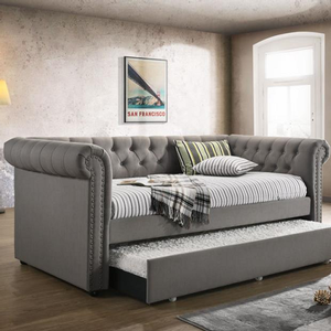 039DB Twin Upholstered Daybed - Finish: Grey<br><br>Slat Kits Included<br><br>Dimensions: 96