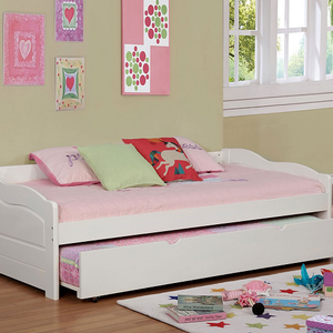 044DB Twin Daybed w/ Trundle - Finish: White<br><br>Available in Black, Espresso or Cherry Finish<br><br>Twin Trundle Included<br><br>Slat Kit Included<br><br>Dimensions: 79 1/8