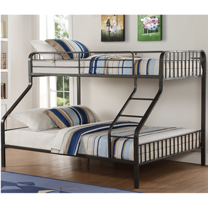 Item # 039QBTwin XL / Queen Bunk Bed - Finish: Gunmetal<br><br>Bunkie Board Not Required<br><br>Slats System Included<br><br>Dimensions: 83