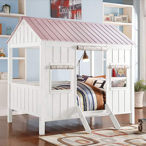 039TB Full Size Cottage Bed - Finish: White / Pink<br><br>Available in Weathered White / Washed Gray Finish<br><br>Bunkie Board Not Required<br><br>Slat Kit Included<br><br>Dimensions: 84