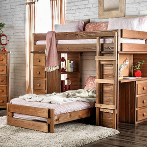 039LB Twin/Twin Student Loft Bed - Finish: Mahogany<br><br>Style: Rustic<br><br>Made in USA<br><br>Dimensions: