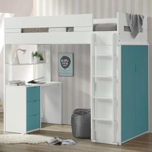 040LB Twin Loft Bed in Teal / White - Finish: Teal/White<br><br>Available in Pink/White, Gray/White & Oak/White Finish<br><br>Bunkie Board Not Required<br><br>Dimensions: 78
