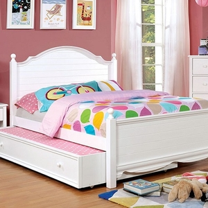 041FB Full Bed in White - Finish: White<br><br>**Trundle Optional<br><br>Available in Twin Size<br><br>Available in Pink Finish<br><br>Dimensions: 80 1/2