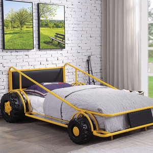 041TB Twin Race Car Bed in Yellow / Black - Finish: Yellow / Black<br><br>Available in Red, Black & White Finish<br><br>No Box Spring Required<br><br>Dimensions: 79