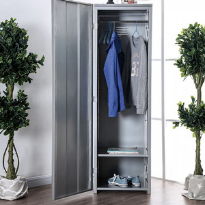 Item # 042AM Locker - Finish: Hand-brushed Silver<br><br>Dimensions: 20 1/4