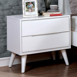 043NS Modern 2 Drawer Nightstand - Finish: White<br><br>Available in Black<br><br>Dimensions: 23 5/8