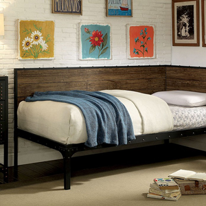 Item # 001MDB Daybed - Finish: Black/Wood<br><br>Mattress Ready<br><br>Dimensions: 78 3/8