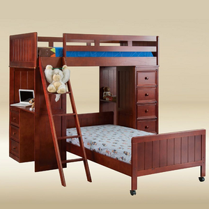 045LB Twin Loft Bed with Chest and Desk with Cork Board in Dark Pecan