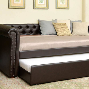 047DB Twin Daybed w/ Trundle in Brown - Finish: Brown<br><br>Available in Beige, Gray and Dark Teal<br><br>Slat Kit Included<br><br>Available in Full Size<br><br>Dimensions: 96 3/4