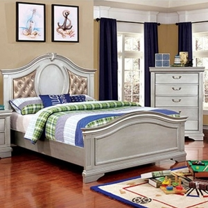 047FB Full Bed w/ Leatherette Headboard - Finish: Silver Gray<br><br>Available in Twin Size<br><br>Available w/ Wooden Headboard<br><br>Dimensions: 81 1/2