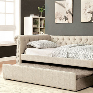 048DB Upholstered Full Daybed w/ Trundle in Beige - Finish: Beige<br><br>Available in Gray<br><br>Available in Twin Size or Queen Size Daybed<br><br>Slat Kit Included<br><br>Dimensions: 96 3/4