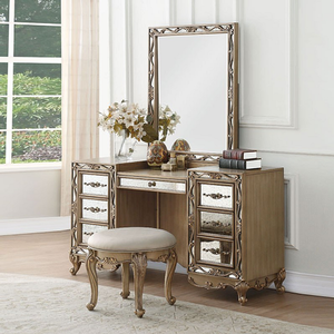 048KCH Vanity Stool in Antique Gold - Finish: Antique Gold<br><br>Desk & Stool Sold Separately<br><br>Dimensions: 19