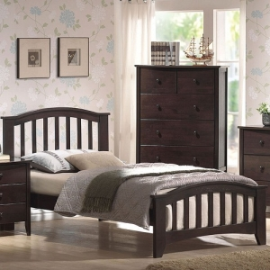 0943FB Full Bed  - Finish: Dark Walnut<br><br>Available in Maple & White Finish<br><br><Available in Twin Size<br><br>No Box Spring Required<br><br>Dimensions: 79