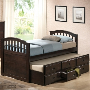 030CB Full Bed w/ Twin Trundle & Drawers  - Finish: Dark Walnut<br><br>No Box Spring Required<br><br>Available in Twin Size<br><br>Dimensions: 80