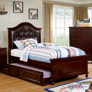 049FB Full Bed w/ Upholstered Headboard - Finish: Dark Walnut<br><br>Available in Twin Size<br><br>Available in White Finish<br><br>Dimensions: 80 1/4