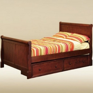 0250 Twin Sleigh Bed in Dark Pecan - *Underneath Storage Sold Separately*