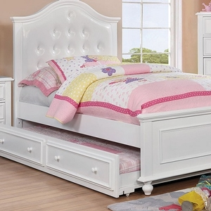 050FB Full Bed w/ Upholstered Headboard in White - Finish: White<br><br>**Trundle Optional**<br><br>Slat Kit Included<br><br> Available in Twin Size<br><br>Available in Dark Walnut<br><br>Dimensions: 80 1/4