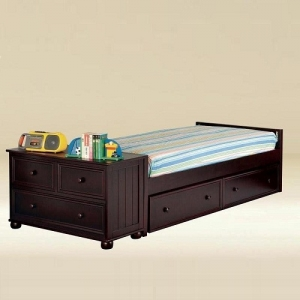 0253 Twin Size Low Panel Bed in Walnut  - *Dresser Sold Separately*  *Underbed Storage Sold Separately*