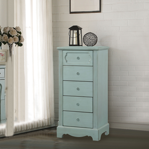 052CH Antique Style 5 Drawer Chest  - Finish: Antique Teal<br><br>Dimensions: 24