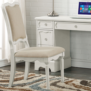 052CHR Antique Style Upholstered Chair - Finish: Antique White<br><br>Dimensions: 40
