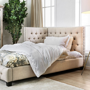 053DB Upholstered Twin Daybed w/ Nailhead Trim - Finish: Beige<br><br>Slat Kit Included<br><br>Dimensions: 84 1/2